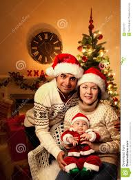 Christmas Family Photo Christmas Family With Baby Royalty Free Stock Photography Image