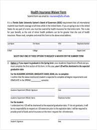 health insurance waiver form template 8 insurance waiver forms free sample example format download