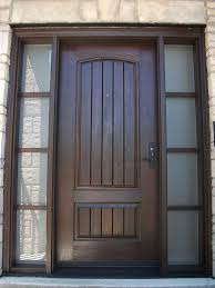 rustic doors single solid fiberglass woodgrain door with and 2 side lites installed by front entry
