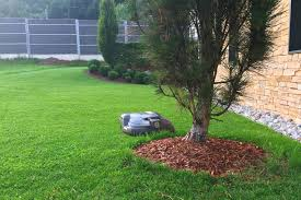 a robot lawn mower can detect objects and turn away from them