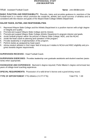 football coach job description football coach resume template assist football program in the policies of wayne state college