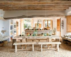 rustic interior lighting. Wood Ceiling Natural Stone Floor Tile Rustic Style Long Dining Table Khaki Linen Fiber Benches Access Lighting Janine 1 Light Mini Pendant Interior G