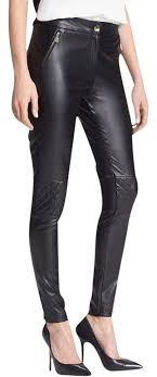 vince camuto black quilted detail faux leather pants
