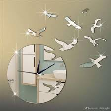 new arrival 3d mirror bird wall stickers clock for home wall decor diy crystal mirror surface wall clocks wall art watch big clocks wall big decorative wall