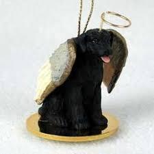 Black Lab Retriever Tiny One Dog Angel Christmas Ornament by C.C