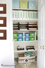 office closet storage. Paper Trays, Fabric Bins, Plastic Containers On Shelves In Office Closet Storage