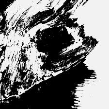 black abstract painting on white background