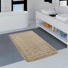 Badezimmer Teppich Bordüre Beige Teppichcenter24
