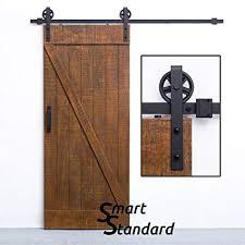 smartstandard sdh0066bigwheelbk big wheel sliding barn door hardware kit 6 6ft single rail fit