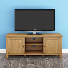 120cm modern oak tv stand solid wood tv unit with 2 compartments 2 cabinets uk