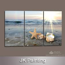3 panels contemporary decorative living room canvas print wall art painting of huge combination art beach canvas