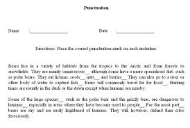 Punctuation Worksheet Maker Sample