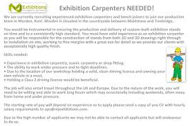 mj exhibitions linkedin exhibition carpenters needed