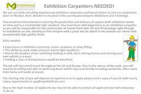 mj exhibitions linkedin exhibition carpenters needed