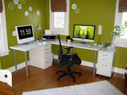 workplace office decorating ideas. Interior Office Modern White L Shaped Computer Desk Feat Black Swivel Chair On Wood Floors In Green Decor Ideas Cordial Workplace Decorating P