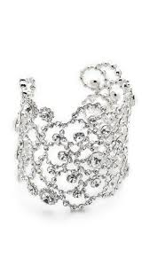 kate spade new york crystal lace cuff bracelet clear silver women accessories jewelry