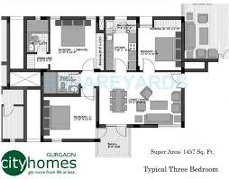 vatika city homes specification 3 bhk 1457 sq ft apartment floor plan