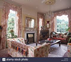 Living Room Country Curtains Indian Throw On A Floral Sofa In A Nineties Country Living Room
