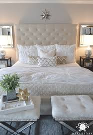 neutal white pottery barn lorraine bed and hadley ruched duvet