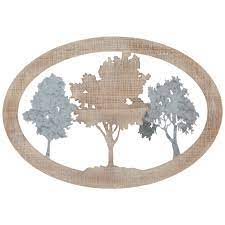 oval tree silhouettes wood wall decor