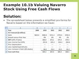 free cash flows example stock valuation free cash flow ppt download