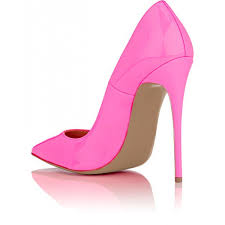 hot pink patent leather pointy toe sti heel pumps image 2