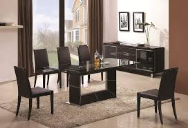 modern intricate designed dining set with leather brown base captivating contemporary glass top dining room sets