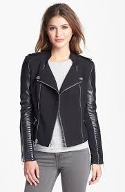 bcbgmaxazria asymmetrical ponte leather moto jacket for women