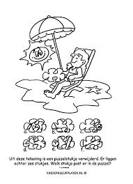 Kleurplaat Parasol Strandstoel Spelletjes
