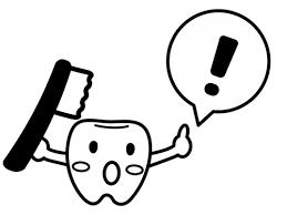歯のキャラクターとビックリマークの白黒イラスト02 かわいい無料の