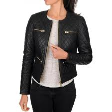 women s casual wear black quilted leather jacket