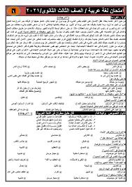أربعة امتحانات جديدة + نموذج الإجابة لغة عربية للصف الثالث | دفعة الثانوية  العامة 2021