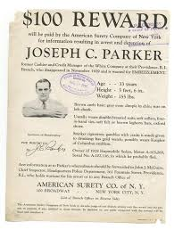 Criminal Wanted Poster Enchanting Wanted Posters 48 Reward Embezzlement Joseph Parker Rhode