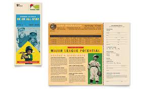 Baseball Brochure Template Baseball Sports Camp Brochure Template Word Publisher
