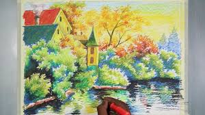 oil pastel painting a evening time house landscape