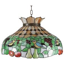 antique arts crafts mosaic slag glass dome chandelier gs and birds