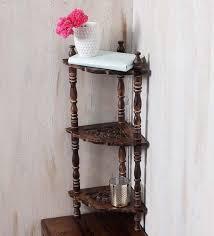 corner shelves furniture. Solid Wood Hand-Made Carved Corner Shelf In Brown Finish By Onlineshoppee Shelves Furniture O