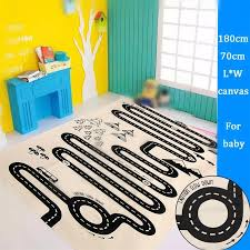 canvas car track road trip floor rug mat children crawling mat bedroom living room carpet continental