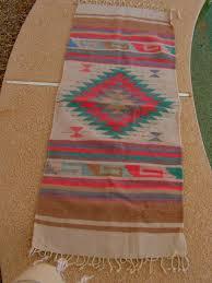 vintage zapotec mexican blanket rug c teal golden brown mexican blanket rug