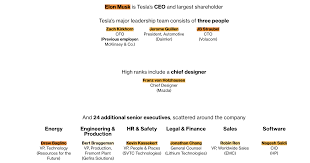Pepsico Organizational Chart 2017 Elon Musk Doesnt Work Alone These Are Teslas Other Key