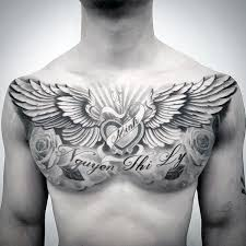 wing chest tattoo designs. Plain Wing Memorial Guys Wing Heart Upper Chest Tattoo Ideas For Designs Next Luxury