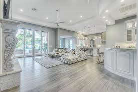modern grey wood floor living room