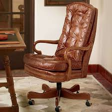 classic office chair. Furniture:Classic Comfortable Tender Laminated Leather Tufted Office Chair With Brown Varnished Wood Base Classic L