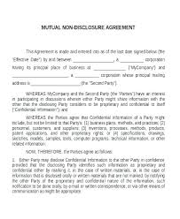 Standard Nda Agreement Template Confidentiality Agreement Sample Template Free Disclosure