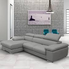 nicoletti lipari grey italian leather sofa chaise left facing