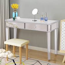 costway 2 drawer mirrored vanity make up desk console dressing silver glass table modern 0