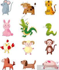 Animal Icon 12 Animal Icon Set Chinese Zodiac Animal Wall Mural Vinyl
