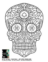 Small Picture Day of the Dead Sugar Skulls Complicated Coloring free adult