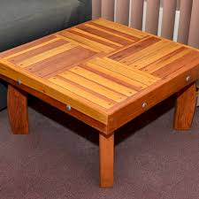 checkerboard wood outdoor coffee table
