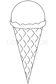 line art black and white icon ice cream cone coloring book page for s and kids summer fast food vector ilration for gift card flyer
